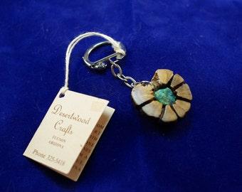 Handmade Cactus (Wood Look) and Chrysocolla Gem Vintage Keyring Keychain