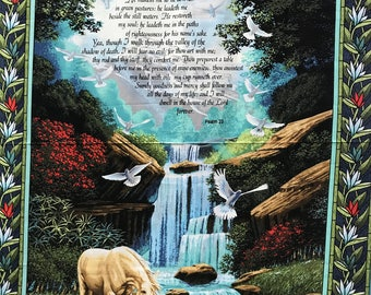 Psalm 23 Springs Creative Horse and Waterfall Fabric Panel Religious Christian