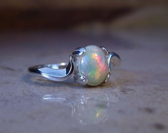 Genuine Opal Cabochon Ring, 14k Gold or Sterling Silver, Natural White Opal Gemstone Ring, October Birthstone, Dainty Gemstone Jewelry