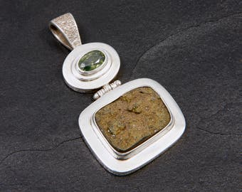 Tourmaline and Pyrite - Pendant  - Sterling Silver