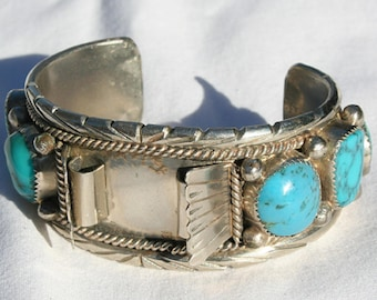 Vintage Navajo Watch Cuff Bracelet Silver and Turquoise