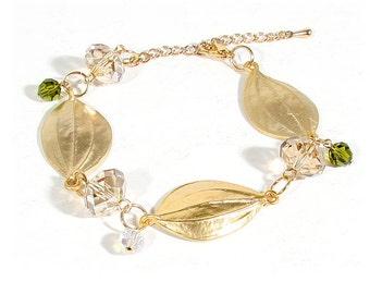 Swarovski Crystal & Gold Tone Leaves Bracelet
