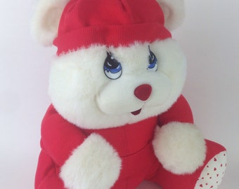 Vintage Well-made sad eyes teddy bear red pj Christmas morning white LARGE