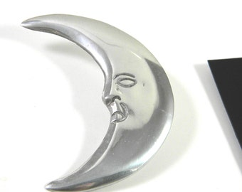 Man in the Crescent Moon Silver tone Large Vintage Brooch Pin Jewelry