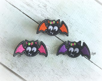 Halloween Hair clip Bat Embroidered Felt Hair Clips Pick one or two. Pick Left side or Right.