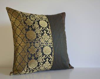 16 x 16 inch Black and Gold Silk  Brocade Pillow Cover , Black Brocade Accent Cushion Cover , Black and Gold Decorative Lumbar Pillow Cover