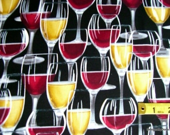 One Fat Quarter cut Quilt Fabric, Glasses of Red and White Wine on Solid Black from Timeless Treasures, Sewing-Quilting-Craft Supplies
