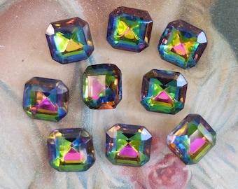 9 Vintage German Glass Stones Pointy Back Rainbow