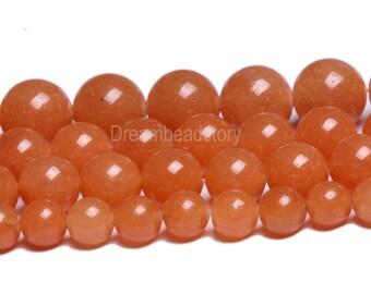 Red Aventurine Beads, Smooth Round Natural Red Aventurine Bead, 6mm 8mm 10mm Aventurine Beads Red, Orange Aventurine Gemstone Beads (B97)