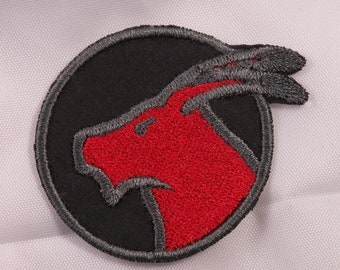 Embroidered Horoscope Astrology Red & Black Capricorn Goat Sign Patch Applique Iron On Sew On USA