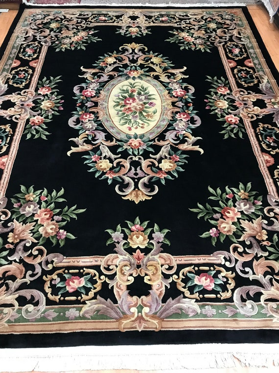 "9'1"" x 12'3"" Chinese Aubusson Oriental Rug - Full Pile - Hand Made - 100% Wool"