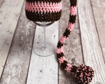 RTS, Long tail brown and pink striped crochet newborn baby girl elf hat photography prop - ready to ship