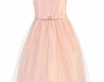 Robe ceremony girl satin and tulle party dress or first communion hand made pastel pink color satin fabric sizes 2 to 12 years