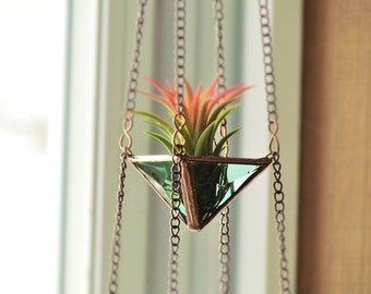 Air Plant Holder Mini 3 Tiered Green Copper Faceted Stained Glass Hanging Terrarium