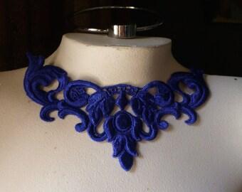 Lapis Blue Lace Applique Sapphire Cobalt Blue for Lyrical Dance, Jewelry, Garments, Costume Design CA 5