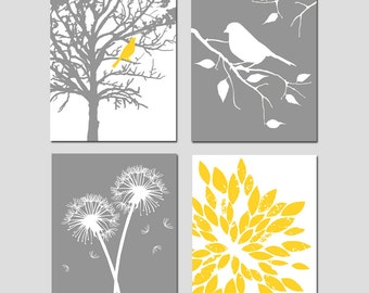 Yellow Gray Grey Nursery Art - Set of Four 8x10 Prints - Bird in a Tree, Bird on a Branch, Dandelions, Abstract Floral - CHOOSE YOUR COLORS