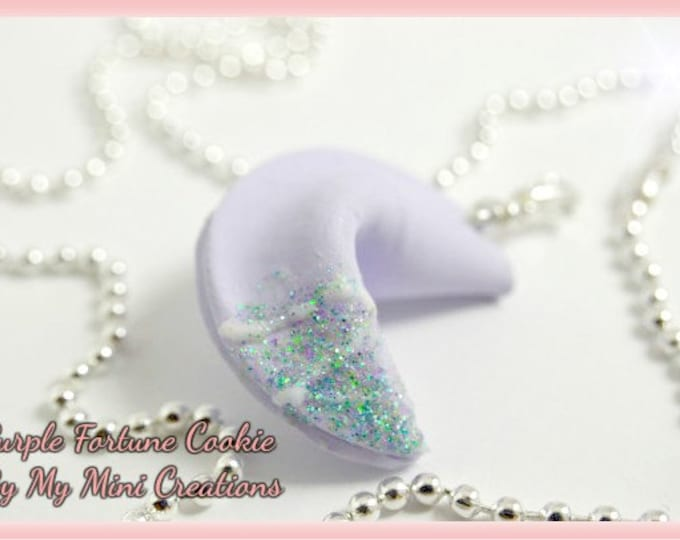 Purple Fortune Cookie Necklace, Miniature Food, Miniature Food Jewelry, Food Jewelry