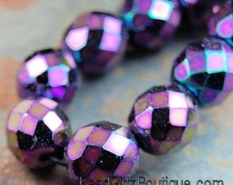 12mm Purple Iris Czech Beads Faceted  -8