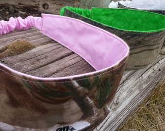 Reversible Camo Headband, Ladies Headband, Pink Camo Headband