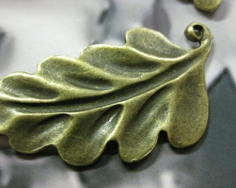 Clearance Antique Bronze Ox Plated Leaf  Charms 614BRZ x2