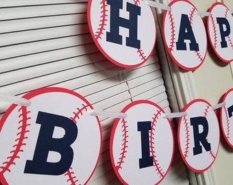 Baseball banner, baseball birthday party, baseball happy birthday banner, home run, baseball birthday