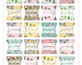 SMALL SIZE Printable Floral Blank Planner File TABS - Digital File Instant Download- floral, roses, black and white, Home Management