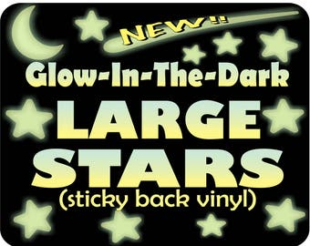 LARGE Glow in the Dark Stars, Self adhesive Ceiling Stars, Nursery wall decor, Toddler Room decor, Night Light, glow stars, ceiling stars