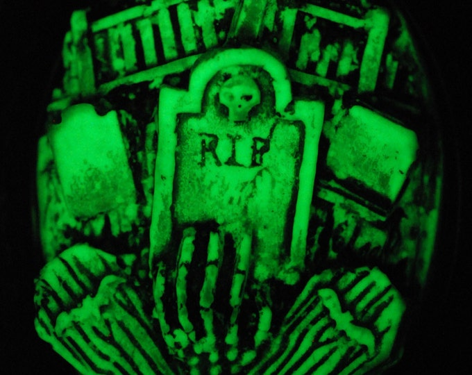 Creepy Cute Glow in the Dark Gothic Necklace  - Victorian Cemetery Necklace with Tombstones Caskets and Skeleton Hand- Zombie  Vampire