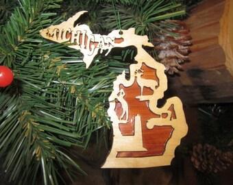 Michigan Ornament - Birch on Cedar