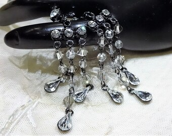 Pretty Vintage Crystal Rhinestone and Bead Chandelier Style Dangly Earrings (pierced)