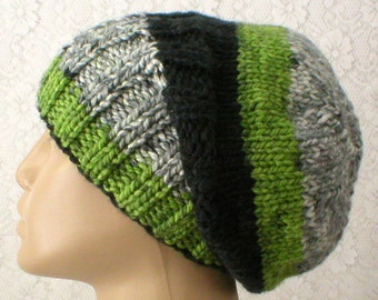 Slouchy hat, watch cap, green black white grey striped hat, beanie hat, toque, brimmed beanie, winter hat, mens womens knit hat, beanie