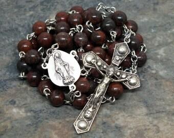 Brecciated Jasper Gemstone Rosary; 5 Decade Rosary; Men's Rosary; Catholic Rosary; Prayer Beads; Rosary Beads