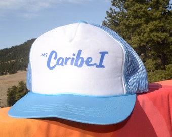 vintage 70s baseball cap ms CARIBE I cruise caribbean mesh snapback hat rockstar