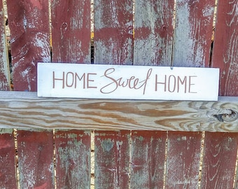 Home Sweet Home - White Farmhouse wood sign with quote | Rustic wood sign | White farmhouse decor | Wooden entryway sign | Farmhouse kitchen