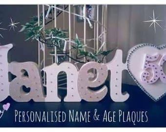 Personalised Name Plaque with Heart |Special Birthday Special Occasion | Anniversary | Birthday