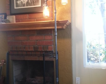 Pipe Floor Lamp 3-fixture Mason Jar INCLUDES 3 Edison Vintage bulbs Living Room Steampunk
