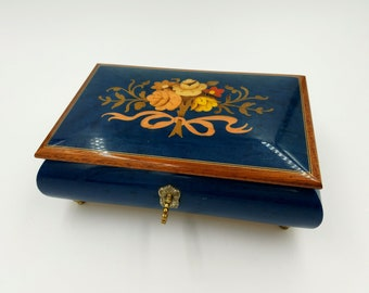 Inlaid Burled Wood Musical Jewelry Box