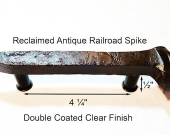 """4 1/4"""" Right Sealed Railroad Spike Cupboard Handle Dresser Drawer Pull Cabinet Knob Antique Vintage Old Rustic Re-purposed House Restoration"""