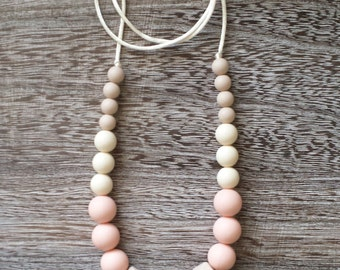 Silicone Teething Necklace - Silicone Nursing Necklace, Neutral Beige, BPA Free, Food Grade Materials
