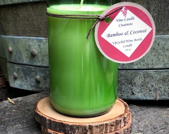Bamboo & Coconut Scented Soy Wine Bottle Candle