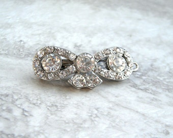 Rhinestone Barrette-Small Delicate Hair Clip in Silver (or Gold) For Weddings Stocking Stuffer