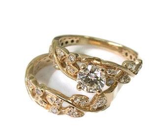 Leaves Engagement Set yellow Gold 14k, Wedding set, Antique Ring, Vintage Ring, Leaf Ring, Wedding Ring Set, Wedding Band Set, Ring Set