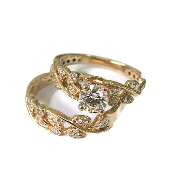 Leaves Engagement Set yellow Gold 14k Wedding set Antique