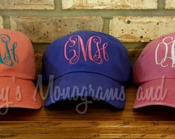 Embroidery Monogrammed Pigment Dyed Adams Baseball Hat - Monogrammed Faded Ball Cap - Initials Embroidered on Hat