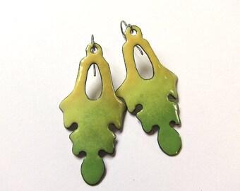 Apple green enameled leaf earrings Bohemian enamel jewelry Niobium Surgical steel Yellow leaf dangles One of a kind artisan earrings