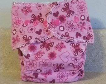 Fitted Small Cloth Diaper- 6 to 12 pounds- Pink Butterflies- 17004