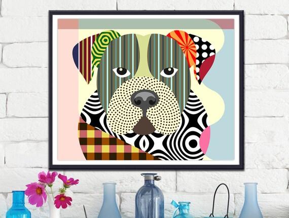 American Bulldog, Dog Portrait, Dog Pop Art, Bulldog, Dog Breed Gift, Dog Breed Poster, Dog Breed Print, Colorful Dog Art, Dog Poster