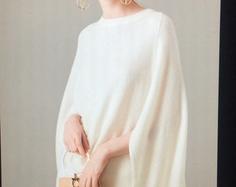 Unique Soft Vanilla White Sweater with Drape of a Cape // Cashmere and Wool // Luxurious // Versatile //  Comfortable // Seasonless