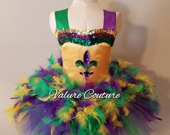 Mardi Gras Feather Fleur De Lis Carnival Inspired Tutu Dress Costume Infant Toddler Girls Baby Newborn Halloween Birthday Outfit
