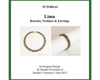 Beading Tutorial, Lima Necklace and Bracelet Set. Beading Pattern with Tila Superduo and Crystal Beads. Instant Download Jewelry Pattern PDF